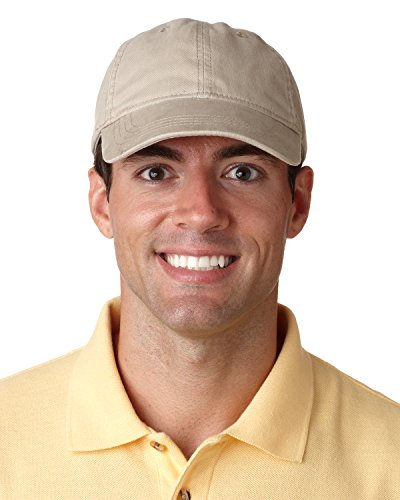 UltraClub Classic Cut Heavy Brushed Cotton Twill Unconstructed Cap (8116) -Khaki -OS ()