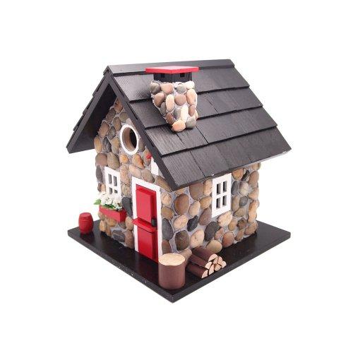 Home Bazaar Windy Ridge Birdhouse, Stone/Red/Black