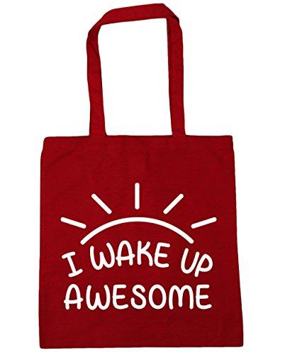 HippoWarehouse I Wake Up Awesome Tote Compras Bolsa de playa 42cm x38cm, 10litros Classic Red