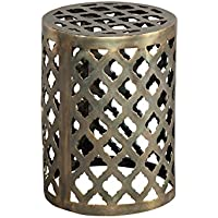 Hekman Furniture Brass Garden Stool End Table Accent Side Table