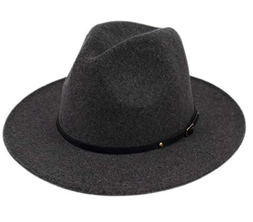 (Lanzom Womens Classic Wide Brim Floppy Panama Hat Belt Buckle Wool Fedora Hat (One Size, Dark Grey))
