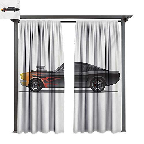 (bybyhome Drape for Pergola Curtain Cars Custom Design Muscle Car with Supercharger and Flames Roadster Retro Styled W120 xL96 Suitable for Front Porch,pergola,Cabana,Covered Patio)