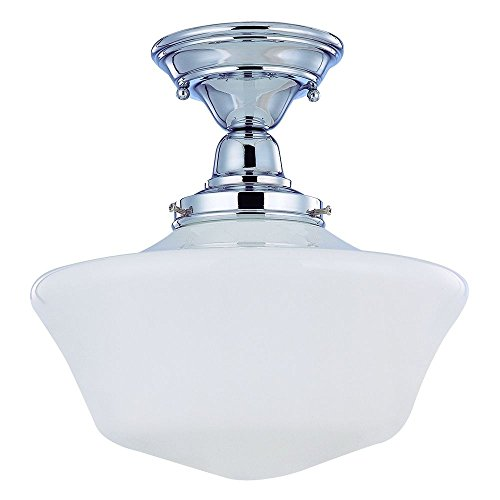 120v Line Voltage Round Canopy (12-Inch Retro Style Schoolhouse Ceiling Light in Chrome Finish)