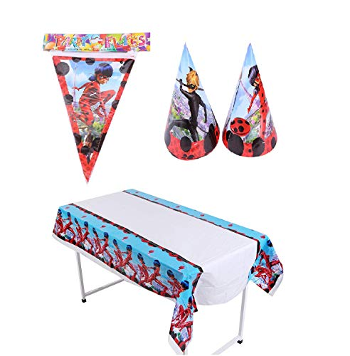 (Astra Gourmet Miraculous Ladybug Party Supplies - Include 1 Party Banner, 1 Table Cloth and 24 Cone Hats for Baby Shower or Kids Birthday Party Decoration )
