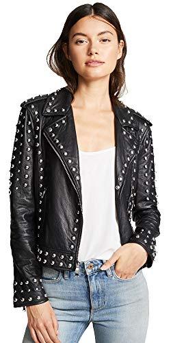 Cloudberry Megan XL Women Metal Studded Biker Leather Jacket - Black