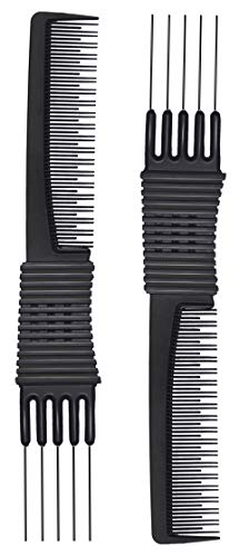 2pcs Black Carbon Lift Teasing Combs with Metal Prong, Salon Teasing Lifting Fluffing Comb with 5 Stainless Steel Pins (Best Comb For Backcombing)