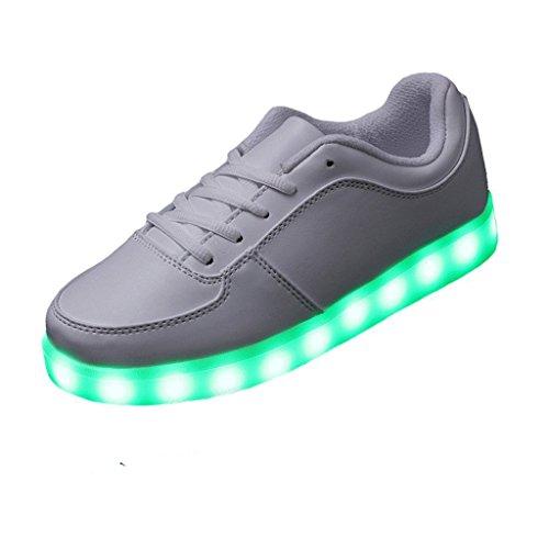 (Present:kleines Handtuch)JUNGLEST Unisex Damen Herren USB-Lade LED leuchten Sportschuhe Blink Luminous Fashion Sneakers für H Weiß