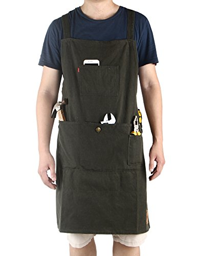 Double Front Canvas Carpenter Jean (Vantoo- Heavy Duty Waxed Canvas Work Apron with Pockets- Adjustable up to XXL for Men & Women (Olive))