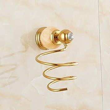 Jade natural cobre baño secador de pelo titular de estilo americano montado en la pared wc plataforma continental de oro colgando de pelo rack,Yong lujo ...