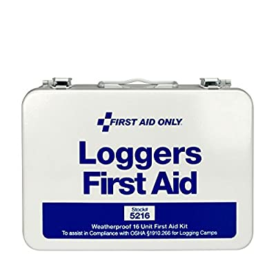 First Aid Only 5216 68 Piece Logger's First Aid Kit with Weatherproof Steel Case from Acme United