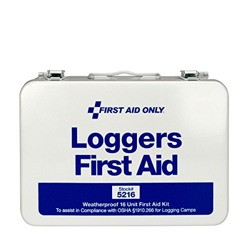 First Aid Only 5216 68 Piece Logger's First Aid Kit with Weatherproof Steel Case (American Safety And Health Institute First Aid)