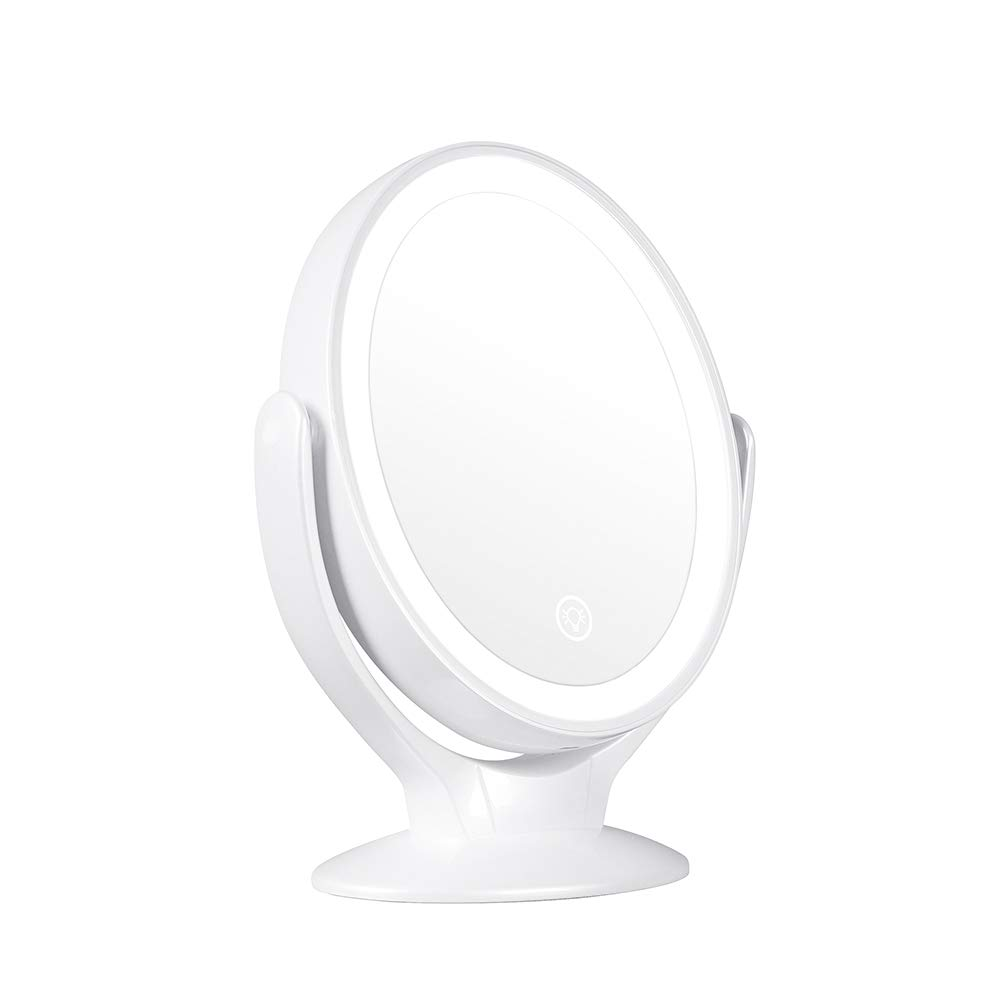 STARPIE Double-Sided Lighted Makeup Mirror Rechargeable, 1x 7x Magnification 360 Degree Swivel Dimmable Touch Screen, Portable Tabletop Illuminated Cosmetic Mirrors
