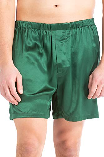 Fishers Finery Men's 100% Pure Mulberry Silk Boxers (Grn, M) Hunter Green