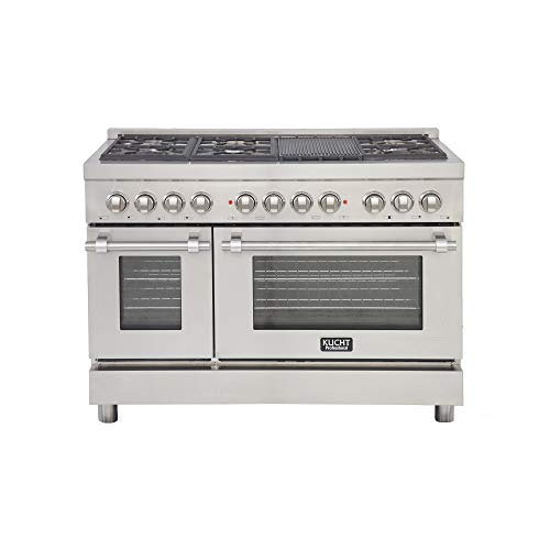 Kucht KPD481F/LP Pro. 48″ 6.7 cu.ft. Dual Fuel Range for Propane Gas, Sealed Burners, Convection Oven in Stainless-Steel