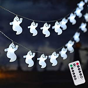 30 lED Halloween White Ghost String Lights, Battery Operated Halloween Lights with Remote, Indoor Outdoor Party, Patio…