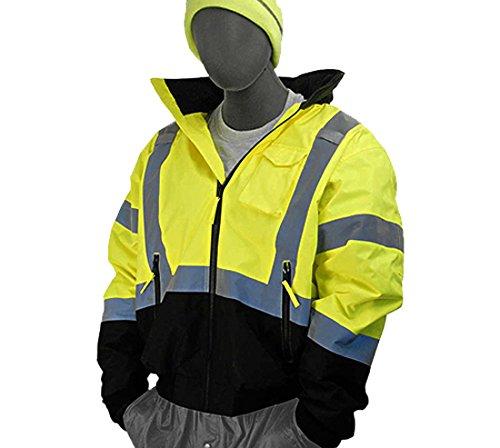 - Majestic Glove 75-1311/L Bomber Jacket, Lined, Hi-Vis, Black Front, Class 3, L, Large, Yellow