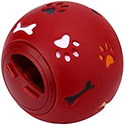 Snack Ball for Small Animals,Treat Ball for Guinea Pigs and Other Small Pets, Adjustable Opening Snack Ball (Red)
