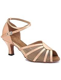 TDA Women's Dance Performance 601801 Mid Heel Satin Salsa Tango Ballroom Latin Shoes