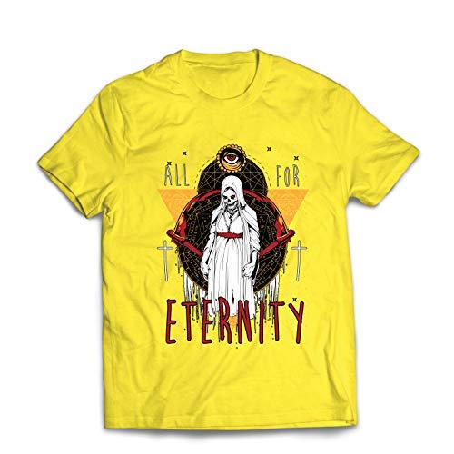 lepni.me Men's T-Shirt All for Eternity Skeleton Halloween Exorcist Skull (Medium Yellow Multi Color)]()