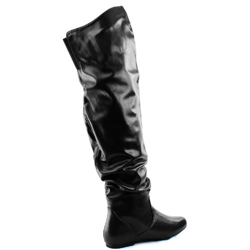 Boots Low Knee Hi Shaft Women's PU B Fashion M Thigh Over DailyShoes High The Flat US Slouchly Heel Black 9 xqOPRXRpwE