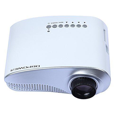 HD Mini proyector DBPOWER pantalla LED 1000:1 de contraste de resolución 480 x 320 con proyectores VGA HDMI USB SD AV TV Input Pocket proyector LCD y ...