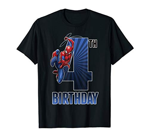 Marvel Spider-Man Swinging 4th Birthday Graphic T-Shirt ()