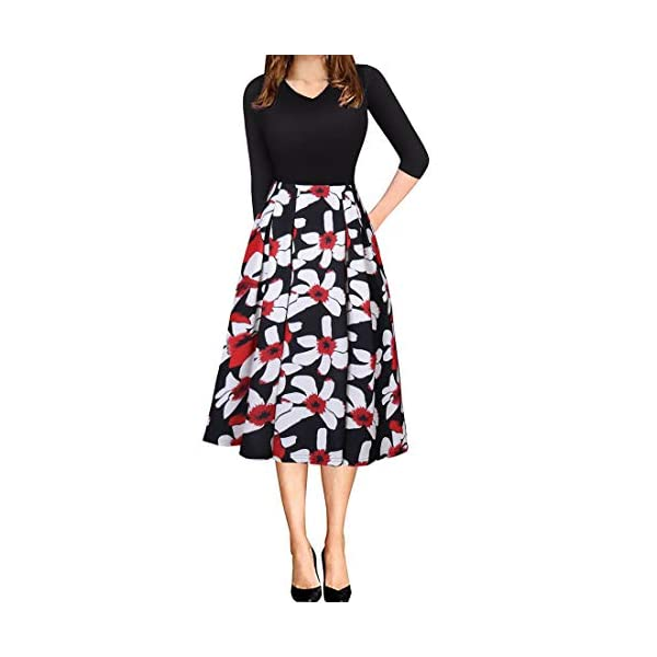 Floral Midi Dress with Pocket
