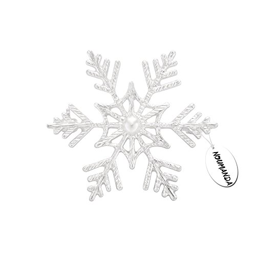 NOUMANDA Winter Wedding Brooch Pin Snowflake Broach Jewelry (Silver)