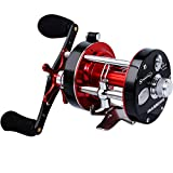 Sougayilang Fishing reels Round Baitcasting Reel - Conventional Reel - Reinforced Metal Body & Supreme Star Drag-Right Hand-Red-Black-Warrior 4000