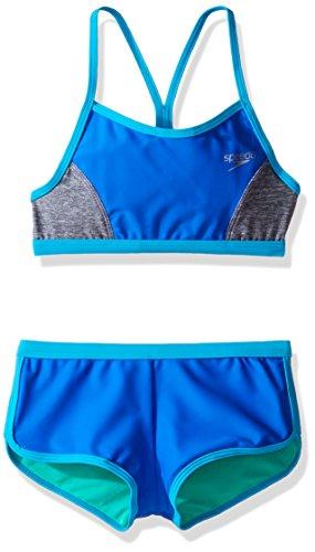 Speedo Girls Heather Splice Boyshort Two Piece Swim Shorts Bikini Set, Radiant Blue, Size 14