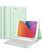Fintie Etui na klawiaturę do iPada 10,2 cala (9/8/7 generacji) – 2021/2020/2019), tylna strona z miękkiego TPU etui ochronne z uchwytem na długopis, magnetyczna zdejmowana klawiatura z układem QWERTZ, zielone