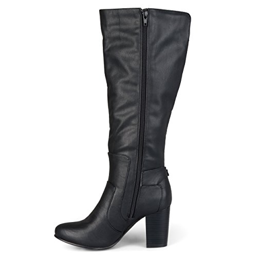 Journee Collection Womens Buckle Detail High-Heeled Boot Black ydf33Sn