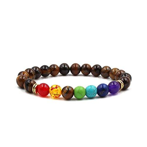 Natural Stone Agate Tigers Eye Lava Rock Beads Stretchy Healing Reiki Chakra Charm Bangle Bracelet for Men Women (Style III - A)