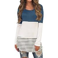 Sherosa  de la mujer casual color block Inset de encaje de manga larga T Shirt Túnica Tops
