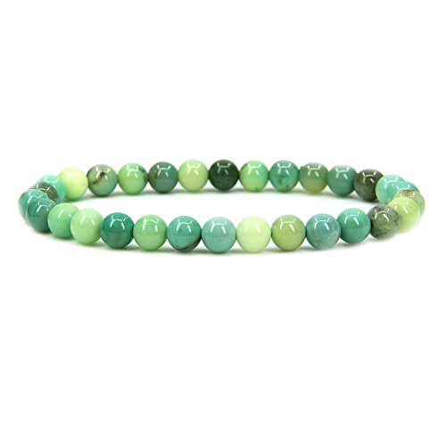 (Amandastone Natural Green Chrysoprase Gemstone 6mm Round Beads Stretch Bracelet 7