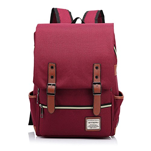 (WITERY New Unisex Vintage Canvas Leather Travel Schoolbag / 15.6 Laptop Backpack Rucksack Daypack Wine Red)