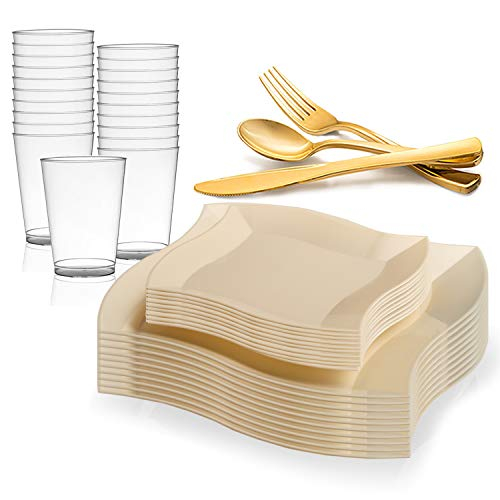 (Disposable Plastic Dinnerware Set for 60 Guests - Includes Fancy Wave Ivory Dinner Plates, Dessert/Salad Plates, Gold Silverware Set/Cutlery & Cups For Wedding, Birthday Party & Other Occasions)