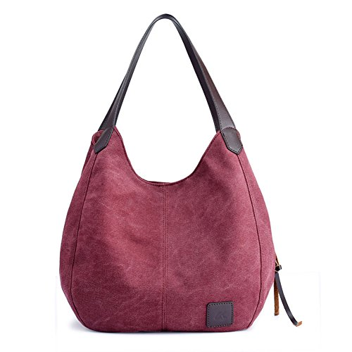 Bags Shoulder Women's Casual for Canvas Tote Handbags Multi pocket Bags Girls Ladies KARRESLY Red Purses ICAwqq