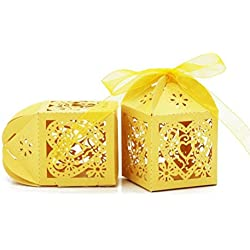 Pixnor 50pcs Laser Cut Pearl Paper Party Wedding Favor Ribbon Candy Boxes Gift Box (Yellow)