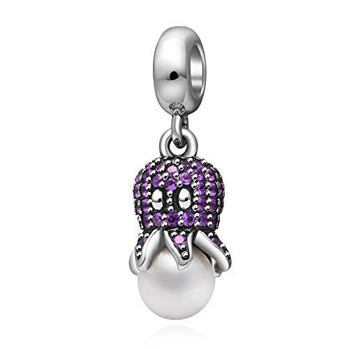 Octopus Dangle Charm 925 Sterling Silver Sea Animal Charm for Pandora Charms Bracelet (purple) - Girly Pandora Bracelet Charms