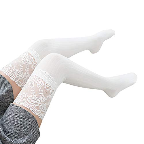 Women's Long Boot Socks Lace Trim Thigh High Over The Knee Socks Cotton Warm Stockings (White)