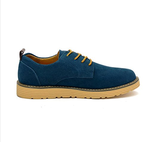 Heart&M zapatos de cuero del ante de los hombres casual cuero genuino tamaño grande skater days blue