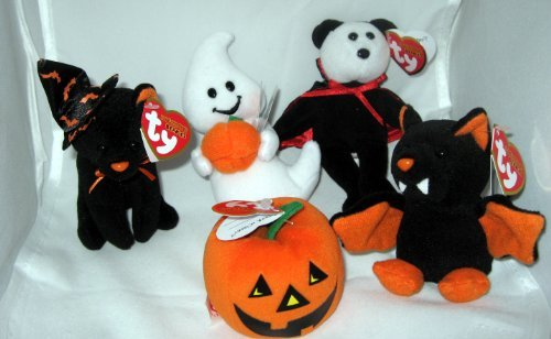 TY Halloweenie Beanie Babies - Halloween 2010 Complete set of 5 (glow, scurry, spooky, swoop & twilight) 2010 Ty Beanie Baby