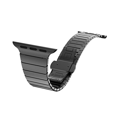 Apple Watch Band, Clebsch Stainless Steel Replacement Smart Watch Band Wrist Strap Bracelet with Butterfly Buckle Clasp for Apple Watch All Models by Clebsch (Image #4)
