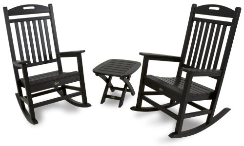 Trex Outdoor Furniture TXS121-1-CB Yacht Club 3-Piece Rocker Chair Set, Charcoal Black