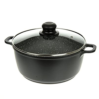 Professional Die-Cast Aluminum Casserole - Induction Bottom, Extra Thick Gauge, Ultra Non-Stick Stone Finish, Glass Lid with Steam Hole - By Unity from Promo Power Group