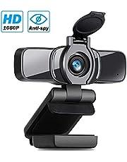 LarmTek Computer Webcam, PC laptop camera met webcam-afdekking, webcam met microfoon voor streaming, widescreen videooproep en opnameondersteuning voor Conference W3,DE