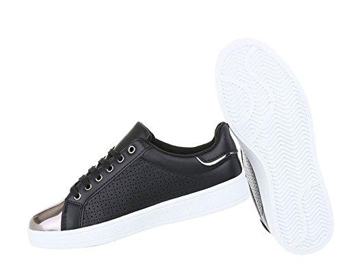Damen Sneakers Freizeit | Sneaker Low | Cap Toes Schnürer | Turnschuhe Zipper | Sportliche Flache Damenschuhe | Schuhcity24 Modell Nr2 Schwarz