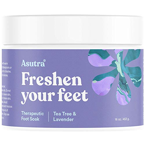 Asutra Premium Therapeutic Foot Soak, Tea Tree and Lavender Scent, 100% Pure Dead Sea Salt, Skin-Healing Nutrients, Organic Essential Oils, Combats Feet Conditions, Free Pedicure Pumice Stone, 16 oz.