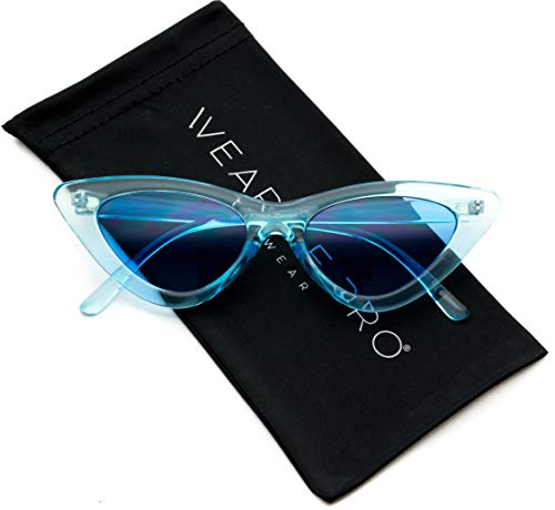 WearMe Pro - Retro Vintage Tinted Lens Cat Eye Sunglasses (Clear Blue Frame/Tinted Blue Lens, 51)
